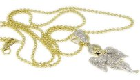 Yellow,Gold,Finish,Mini,Angel,Diamond,Piece,Pendant,Charm,W,Moon,Cut,Chain