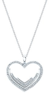 Heart Shaped Diamond Pendant in 14K White Gold