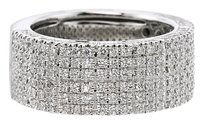 Stunning Six Row Diamond Band in 18K White Gold