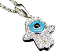 Jewelry Unlimited Ladies,14k,White,Gold,Hamsa,Evil,Eye,Diamond,Pendant,Charm,With,Chain,14,Ct