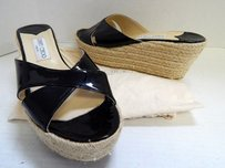 Jimmy Choo Paisley Patent Leather Espadrille Wedges Italy Black Platforms