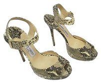 Jimmy Choo Taupe Snakeskin Sandals W Ankle Strap Browns and ivory Platforms
