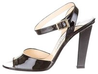 Jimmy Choo Ankle Strap Patent Buckle Leather Heel Black Pumps