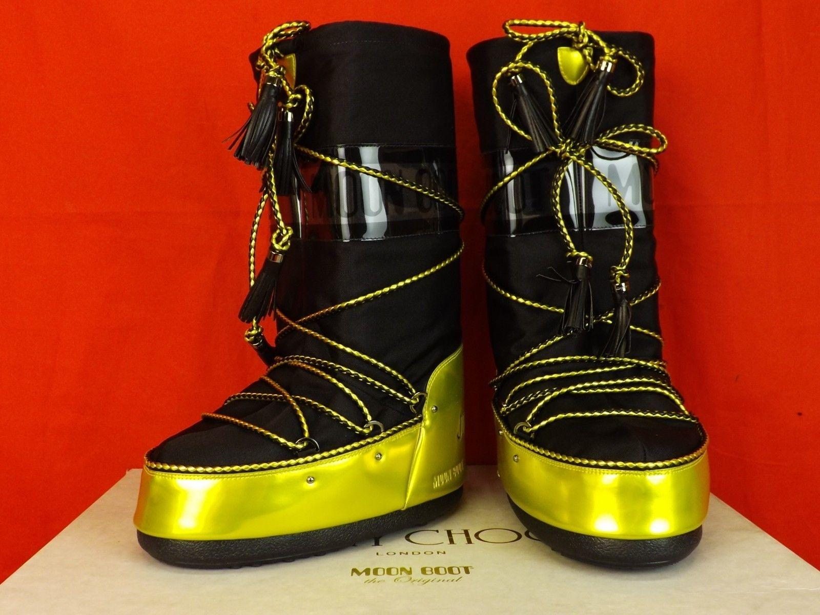 298e2444e Jimmy Choo Black 39 41 41 41 Yellow Leather Fabric Tall Snow Italy Boots Booties  Size EU 40 (Approx. US 10) Regular (M