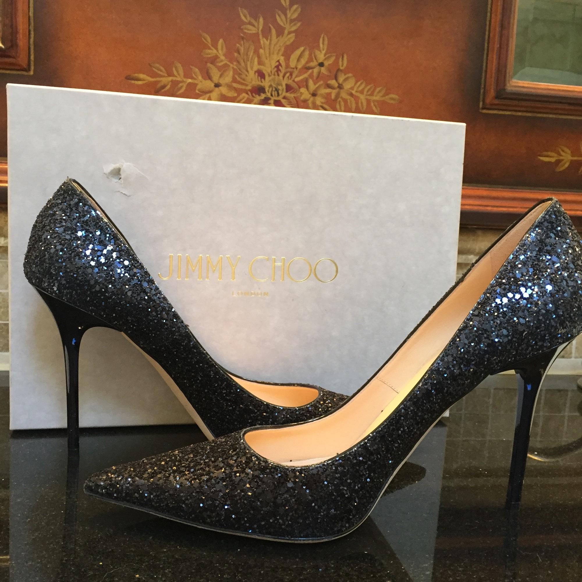 b3395a4913f Jimmy Choo Black Black Black and Navy Abel Glitter Pumps Size US 9.5  Regular (M