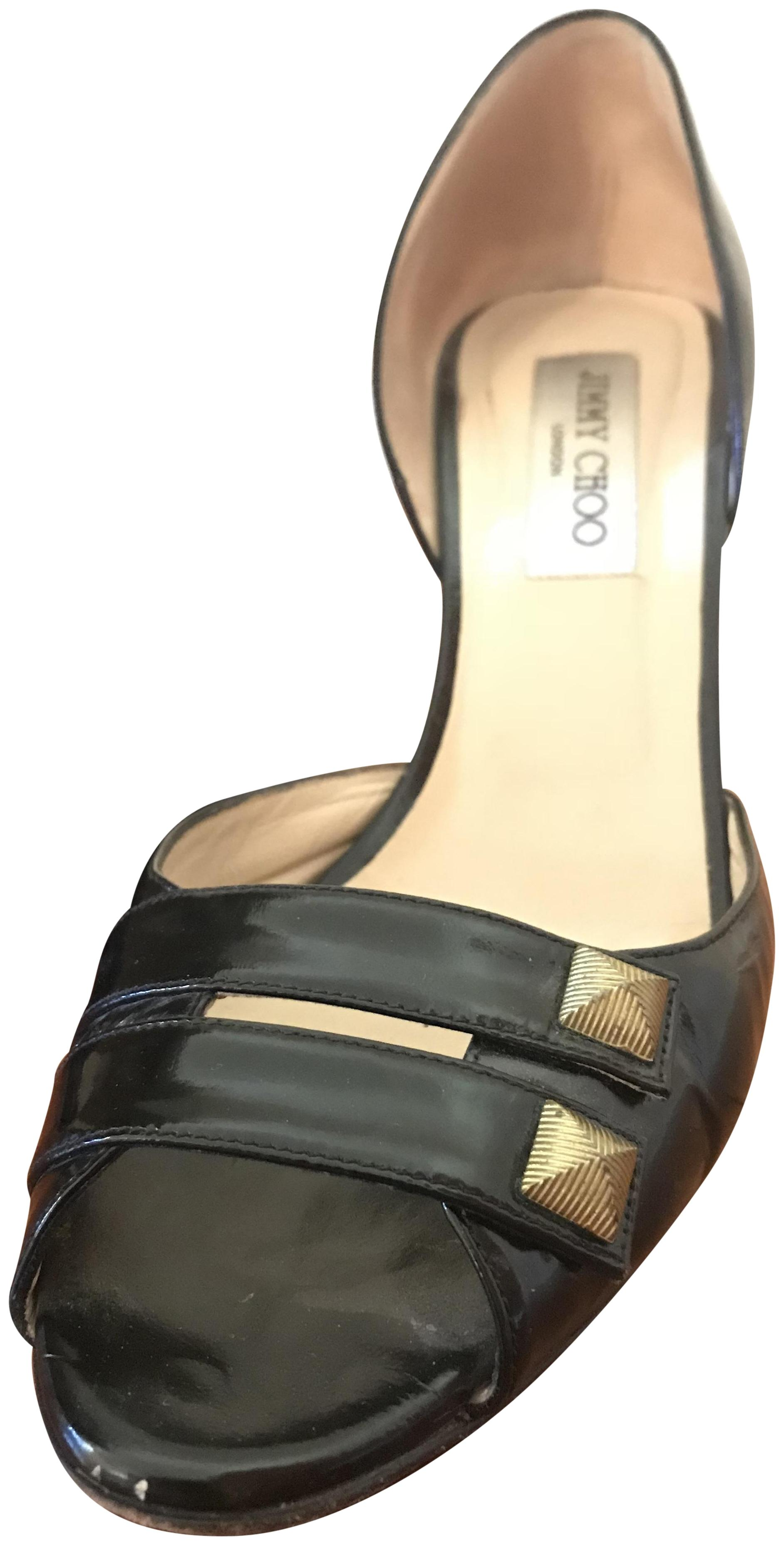 492af72064b Jimmy Choo Black Patent Patent Patent Leather Peep Toe with Gold Studs  Sandals Size EU 39.5 ...