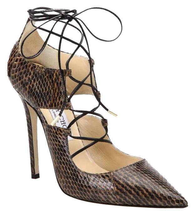 Jimmy Choo Hoops Lace Up Snakeskin New Never Worn BROWN Pumps ...