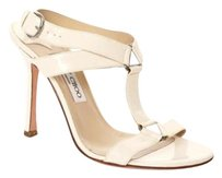 Jimmy Choo Cream Ankle Patent High Heel Sandals Ivory Pumps