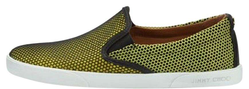 Jimmy Choo Demi Honeycomb Skate Shoe in Acid Yellow 40B/10B nwt & box