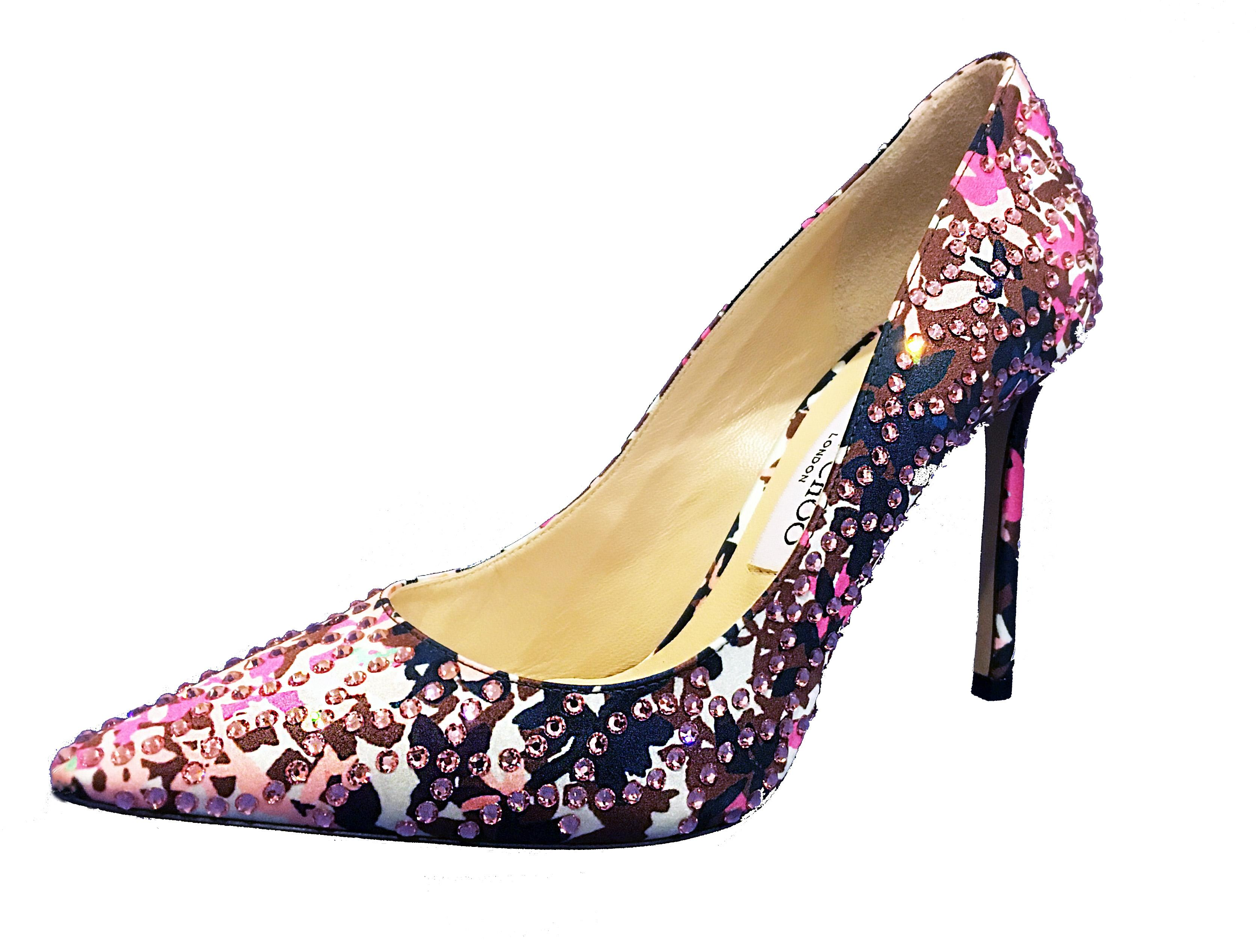 Jimmy Choo Floral ( Pink. Black & White) Romy Pointed-toe 100mm Pumps Size US 7.5 Regular (M, B)