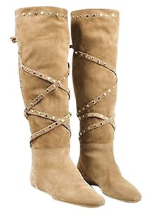Jimmy Choo Silver Tone Brown Boots