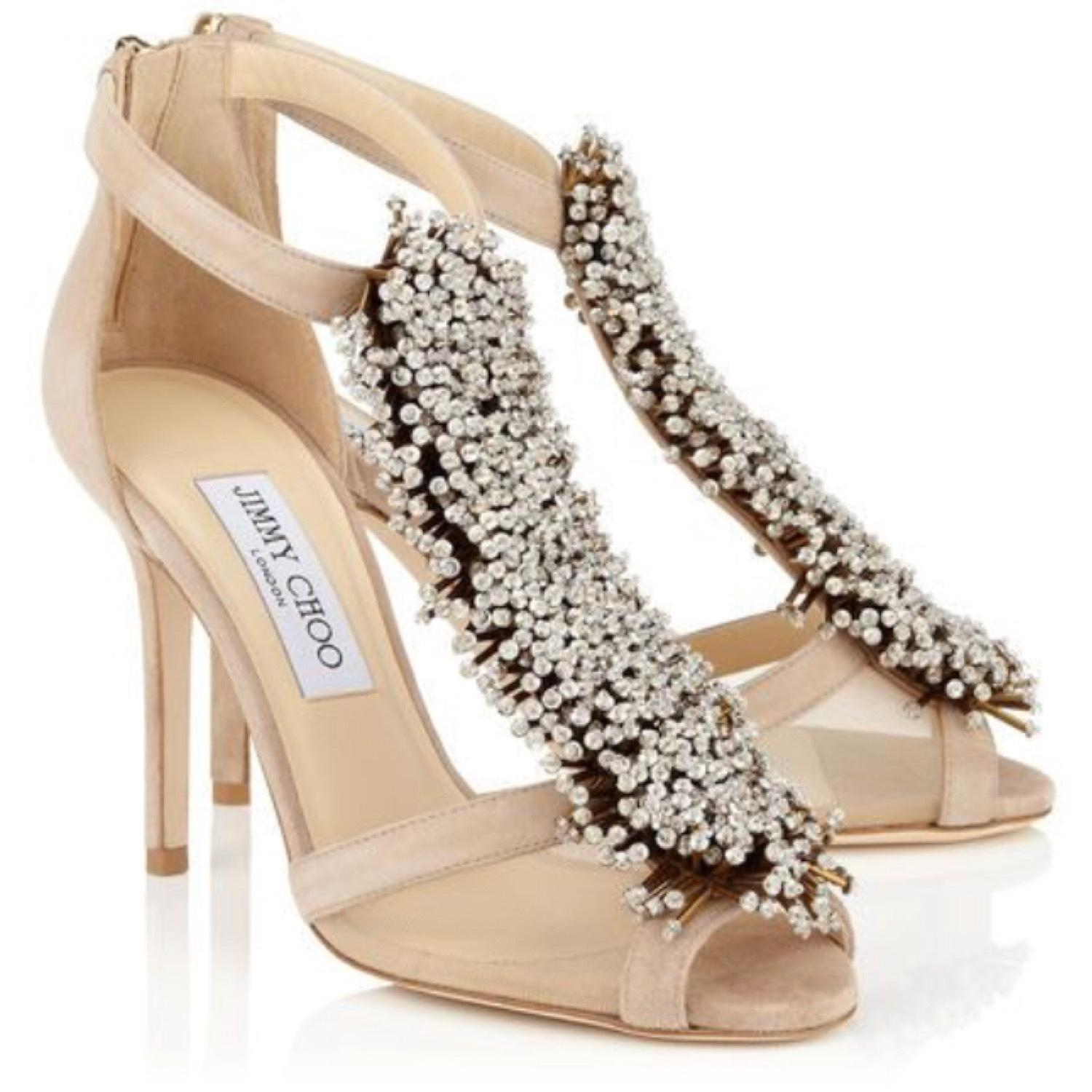Jimmy Choo Nude Silver Suede Crystal Embellished Jeweled Beaded Sandals Pumps Size EU 36.5 (Approx. US 6.5) Regular (M, B)