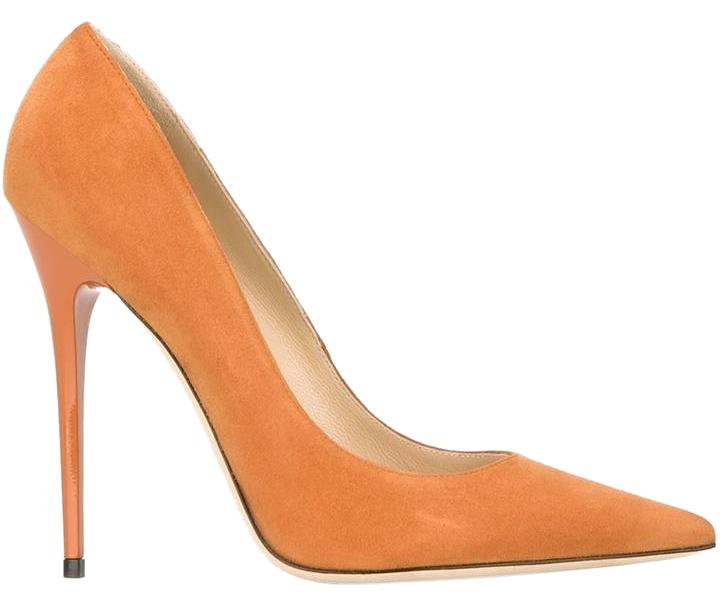 9c329bfd36b ... official jimmy choo anouk suede orange pumps 3c609 deaa0