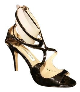 Jimmy Choo Patent Leather Strappy Black Sandals
