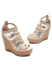 Jimmy Choo Patent Leather Cork Pekabo Wedge Size Nude, metallic gold Sandals