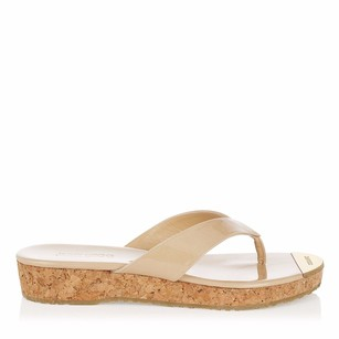 Jimmy Choo Nude Gold Logo Patent Beige Sandals