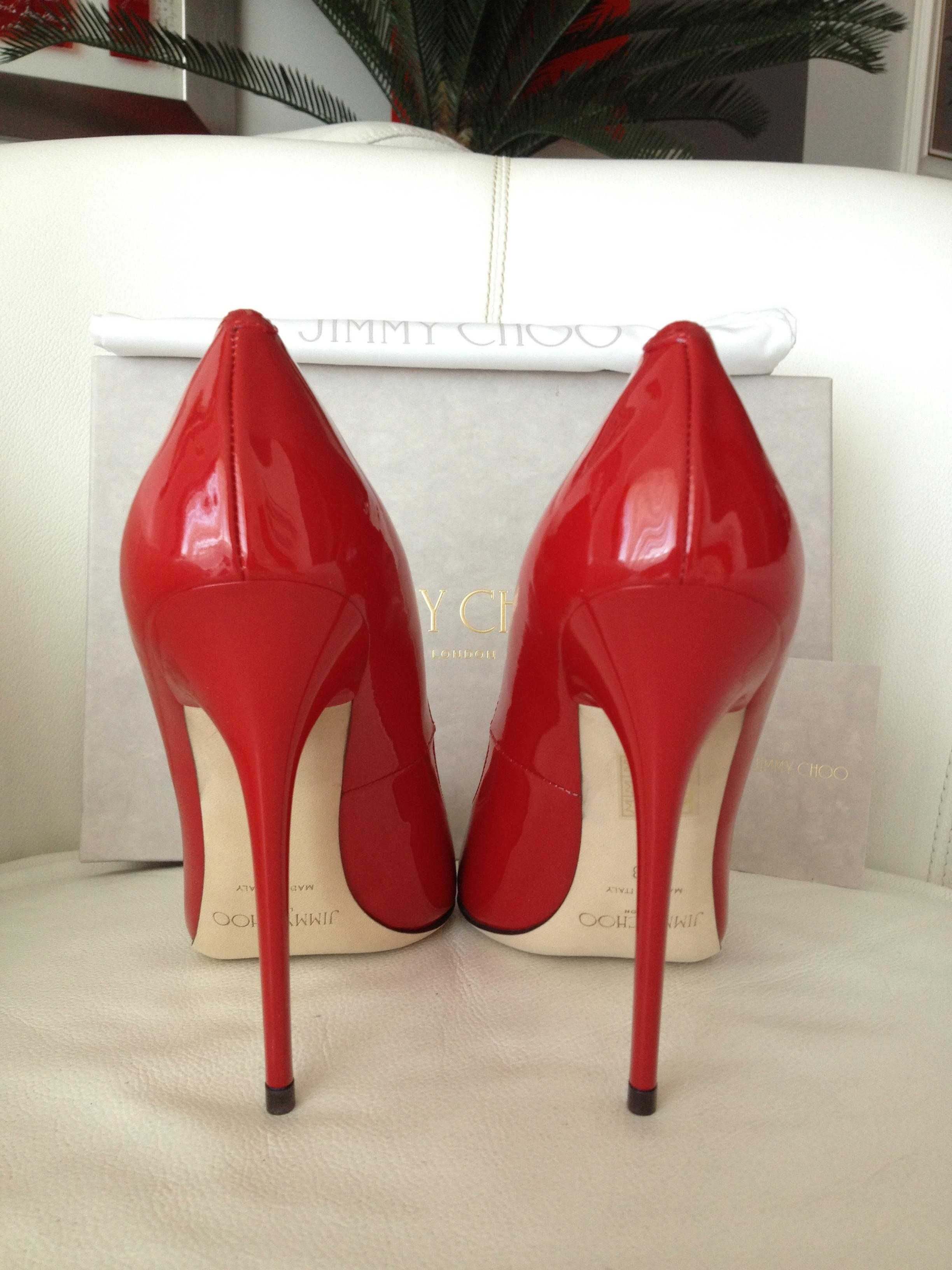 6561f3c1211 Jimmy Choo Red Anouk 120 Patent Leather Pumps Size Size Size US 8 ...