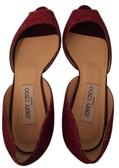 Jimmy Choo Red Glitter Peep Toe