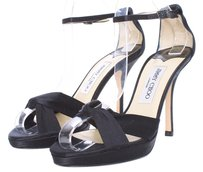 Jimmy Choo Heels Satin Rhinestone Stiletto Strappy Silk Open Toe Crisscross Strap Black Sandals