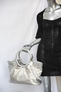 Jimmy Choo Silver Perforated Shoulder Bag