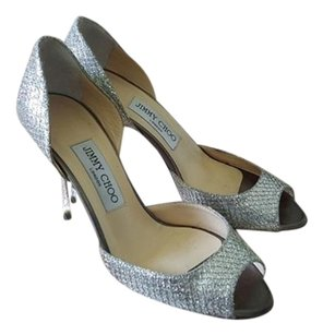 Jimmy Choo Peep Toe Glitter Pump Cut-out Silver Formal