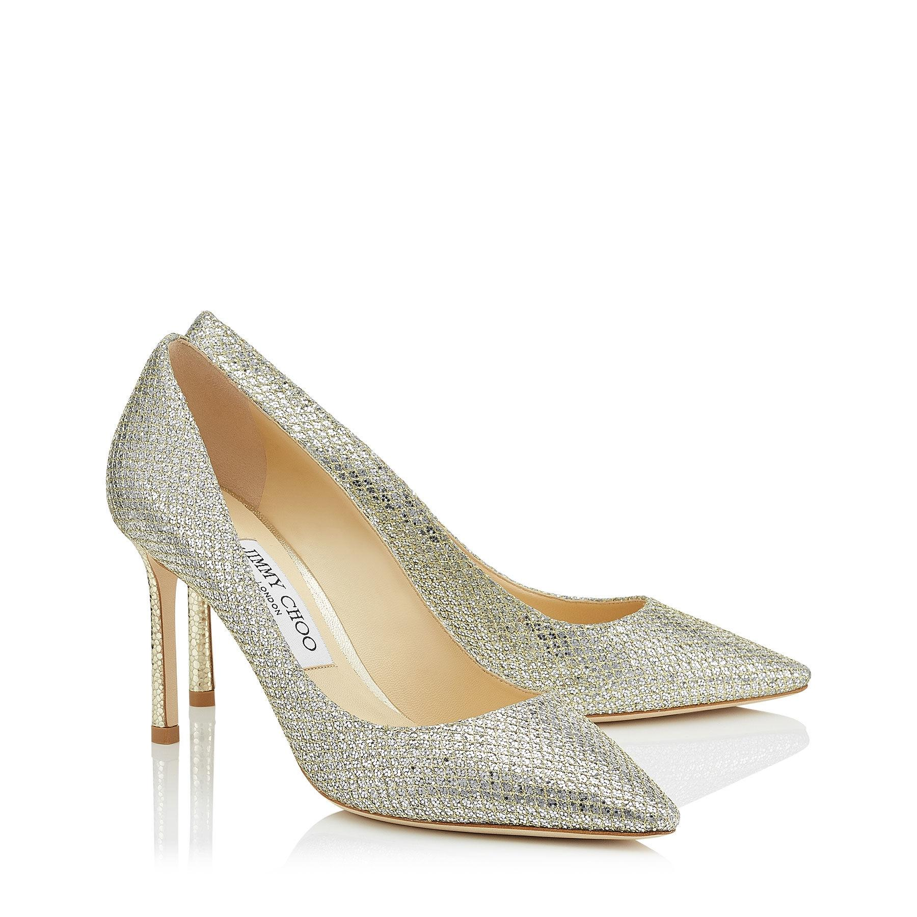 Pumps Romy 100 fabric glitter rose Jimmy Choo London xx2Vit