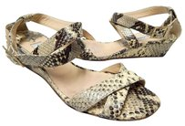 Jimmy Choo Snake Leather Ankle Wrap Wedge Italy Beige Sandals