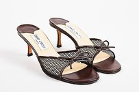 Jimmy Choo Leather Mesh Brown Sandals