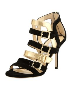 Jimmy Choo Gold Bubble Strappy Black/Gold Pumps