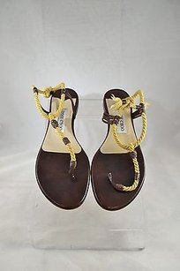 Jimmy Choo Brown Leather Yellow Rope Strappy Brown/ Yellow Sandals