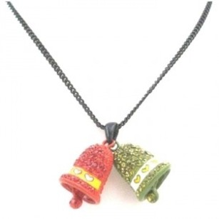 Pink and Green Jingle Bell Pendant Crystals Bell Dangling Christmas Jewelry Set