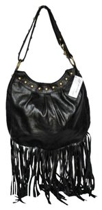 JJ Winters Jj 2012 Leather Fringe Baggold Studs Handbag Cross Body Bag