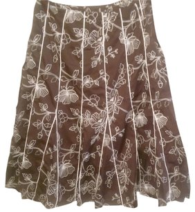 JM Collection Embroidered Skirt Brown