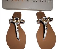 Joan & David Crystals Brushed Beads White Sandals