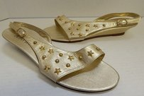 Joan & David B Leather Gold Sandals