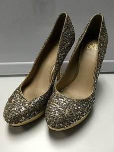 Joan & David Gold Silver Leather Sequin Beaded High Heels B3026 Multi-Color Platforms