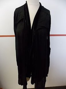 JOE'S Jeans Sheer Velvet Trim Sleeves Rayon Stretch Duster F681 Top Black
