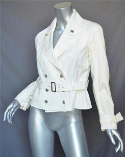 John Galliano White Belted Cotton Cropped Trench Ivories Jacket