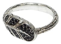 John Hardy JOHN HARDY 925 STSILVER CLASSIC CHAIN FEATHER BLACK SAPPHIRES RING