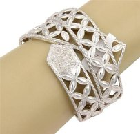 John Hardy John Hardy Open Floral Design Cuff Bangle With Diamonds In Sterling Silver -