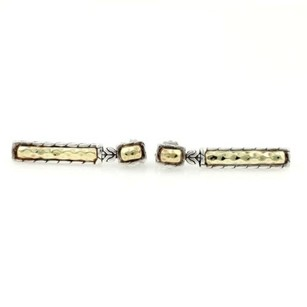 John Hardy John Hardy Palu 22k Gold Sterling Silver Hammered Long Bar Dangling Earrings