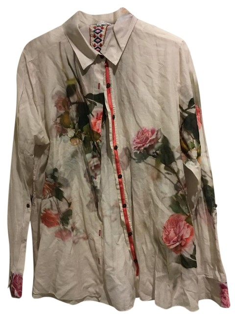 Johnny was beige pink green blouse womens large 12 14 for Johnny was silk shirt