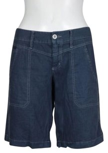 Joie Womens Bermuda Casual Cropped Linen Pants Trousers Shorts Blue