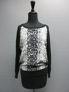 Joie Black Silk Long Sleeves Crew Neck Printed Casual Soft Sm12928 Sweater