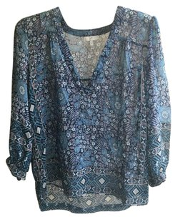 Joie Print Casual Top Blue Multi