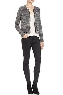 Joie Ebony Porsha Knit Zip Black Grey Jacket