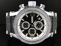JoJino Mens Jojojojinojoe Rodeo White Gold Finish Rubber 25 Diamond Watch Mj-1075b