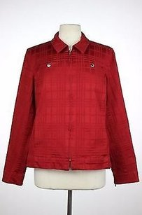 Jones New York Womens Plaid Red Jacket