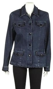 Jones New York Womens Black Womens Jean Jacket