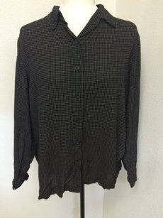 Jones New York Sport Petite Shirt Button Front Rayon Checked Top Black